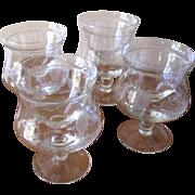 Vintage 1950's Floral Etch Crystal Shrimp Cocktail Glasses or Icers with Inserts - Set of 4