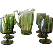Vintage 1970's Indiana Nouveau Pattern Paneled Pitcher & Stemware Set - 7 Piece