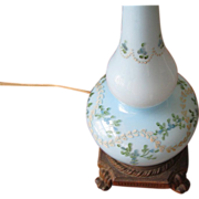 REDUCED Vintage Pale Blue Floral Hand Blown Glass Table Lamp