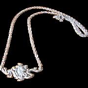 SALE Vintage Sterling Silver Lady Face Pendant Necklace