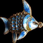Vintage Articulated Blue Enamel Fish Pendant or Charm