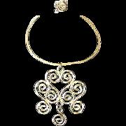 Vintage 1970's Hammered Metal Scroll Design Choker Necklace & Ring Set