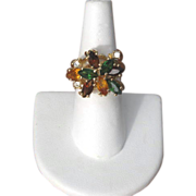 SALE Vintage Amber, Green & Yellow Rhinestone Cocktail Ring