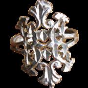 Vintage Etched Sterling Silver Heraldic Design Ring