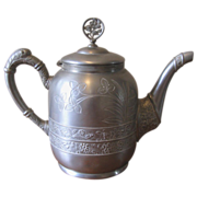 Vintage Silver Plate Floral Embossed Teapot