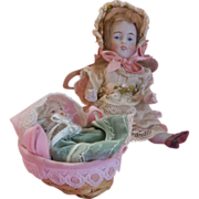 SALE All Bisque Toothy 150 Doll in Lace Dress with Goodies - Baby and Bassinette