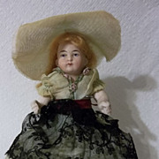 "SALE Charming 6"" All Bisque German Doll with Intaglio Eyes"