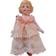 "Tiny, Sweet, Tinted Pink 2-1/2"" All Bisque Girl in a Lace Dress"