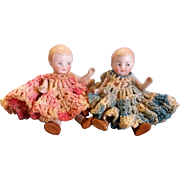 "SALE Pair of 4-1/2"" Antique German All Bisque Twins in Crocheted Dresses"