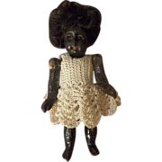 "SALE 3-1/4"" Bisque Head Black Doll with Glass Eyes Swivel Neck - Sale"