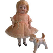 "SALE Gorgeous 6-1/2"" Kestner 208 All Bisque Doll with Porcelain Pet Dog"