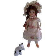 SOLD Charming All Bisque German Girl in Fabulous Lace Dress and Bonnet
