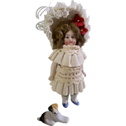Gorgeous Chubby All Bisque Girl with Frozen Legs in Stunning Dress and Bonnet