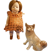 """Precious 4"""" All Bisque German Girl in Mommy Made Dress"""