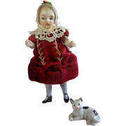 SALE Beautiful Slender German All Bisque Girl in Scrumptious Red Velvet Dress