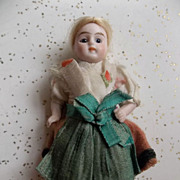 SALE All Original All Bisque German Miniature Doll in Folklore Costume