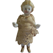 "Beautiful 3"" Blond Frozen Charlotte (Cinderella) with Gold Tiara and Gold Boots"
