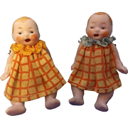 "SALE Adorable Hertwig 2-3/8"" All Original All Bisque Candy Baby Dolls with Open Mouths"