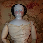 REDUCED Large Antique China Head Doll Flat Top High Brow with Provenance c1858
