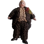 "Teeny Tiny 1-1/2"" Carl Horn Groom in Crocheted Black Tuxedo with Tails"