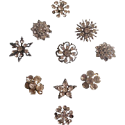 10 Vintage Rhinestone Buttons for Dolls