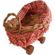 SALE Vintage German Wicker Baby Carriage for All Bisque Baby
