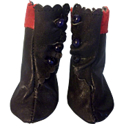 Wonderful Black and Red Vintage Leather Boots for you Bisque Head Doll