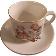 SALE Delightful Child's Tea Cup and Saucer - Children Playing with Kitten