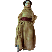 Precious Antique Flat Top China Head Dollhouse Doll or Needle Holder or Dollhouse Doll