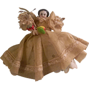 SALE Darling All Original Miniature Flat Top China Head Doll for Dollhouse