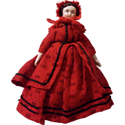 "SALE Wonderful Antique 6"" Red Riding Hood China Head Dollhouse Doll"