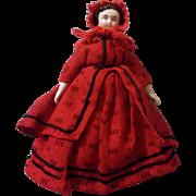 "SALE Wonderful Antique 6"" Red Riding Hood China Head Dollhouse Doll"