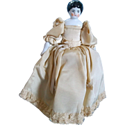 "SALE Lovely 7.5"" Low Brow China Head Doll in Pretty Silky Gown"