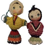 Colorful Vintage Miniature Crochet Ornament Dolls
