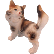 Charming Porcelain China Miniature Dollhouse Cat
