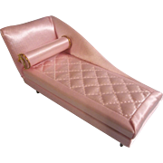 Vintage Ideal Petite Pink Princess Chaise Dollhouse Boudoir Lounge with Bolster Pillow c1964