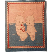 Kewpie Tobacco Flannel Doll House Rug - Blowing Up a Pod
