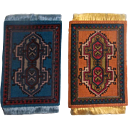 A Couple of Bright Antique Oriental Design Dollhouse Rugs