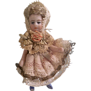 """SALE Beautiful 2-1/2"""" SFBJ Antique All Bisque French Lilliputian Girl with boo boo foot"""