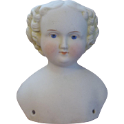 Attractive Antique Flat Top Parian Head with Nicely Molded Curls