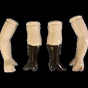 2 Sets of Vintage Ceramic Porcelain Doll Parts