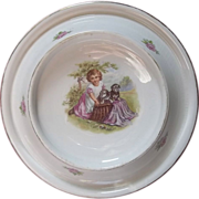 SALE Antique Royal Baby Plate Feeding Dish Young Girl with 2 Puppies in Basket c1905