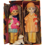 SALE Delightful Vintage Pair of All Bisque Frozen Dolls Mint in Box