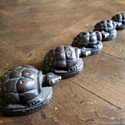 Set Of 5 19th Century Burmese Bronze Turtle Opium Weights