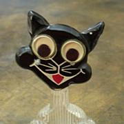 Vintage Bakelite And Lucite Google Eye Cat Brooch, Circa 1940