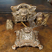Four Piece Antique Cast Iron Owl Desk Set, Made By The Judd Manufacturing Company