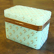 Antique Seafoam Green Opaline Hinged Box, Circa 1900