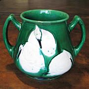 Japanese Awaji Pottery Vase With White Cranes, Circa 1900