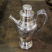 Vintage Silver Plate  Cocktail Shaker With Grape Vines, Circa 1920