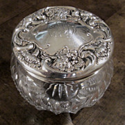Sterling Silver And Cut Glass Floral Repousse Vanity/Dresser Jar, Circa 1900
